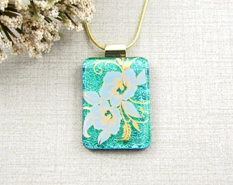 Green Dichroic Glass Flower Pendant - Dichroic Fused Glass Necklace with White and Gold Flowers - Flower Pendant - Gold Flower Pendant