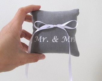 Wedding Ring Bearer Pillow 4 x 4 inches  - Mr and Mrs design - Choose your fabric and ink color