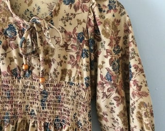 Vintage 1970s Boho Praire Brown Floral Dress x-small