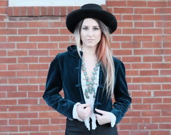 Dark Teal velvet short jacket/bolero/Small/medium