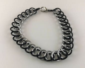 Sale 25% off Black and Silver Half Persian Chainmaille Bracelet