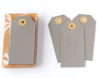 Small Grey Parcel Tags - 12 Tags