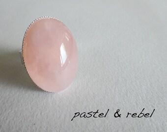 Pastel soft pink rose quartz ring