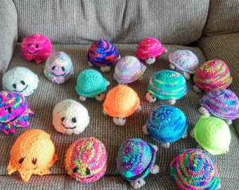 Baby turtle and baby octopus toys knitted