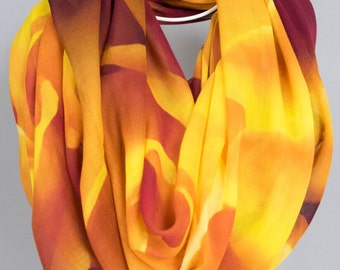 Scarves for women. Shawl wrap.  Bridal Party. Weddings.  Abstract Floral Photography.  Yellow, orange, maroon. Tangerine Dream Design.