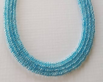 sea blue seed bead necklace your choice of sizes