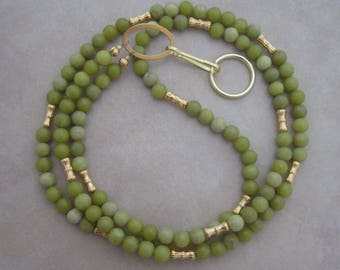olive green jade lanyard gold beaded badge ID holder