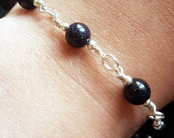 Blue Goldstone Silver Bracelet