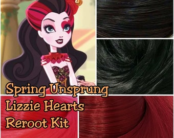 Ever After Spring Unsprung Lizzie Hearts Doll Re-root Pack Nylon Hair Black Red Merlot Kit to make your own