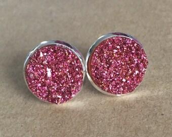 Pink Druzy Earrings, Pink Faux Druzy Earrings, Druzy Stud Earrings