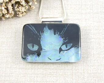 Black Cat Pendant - Blue Dichroic Glass Cat Pendant - Cat Face Necklace - Cat Jewelry for the Cat Lover - Blue Dichroic Glass Cat