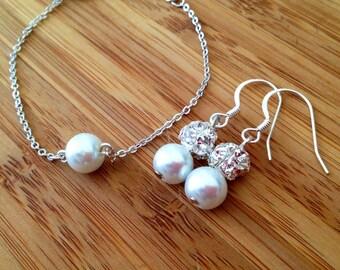 Bridal Wedding Bracelet and Earrings - Pearl and Rhinestone Earrings and Single Pearl Floating Bracelet, Bridal Jewelry Set, Bridesmaid Gift