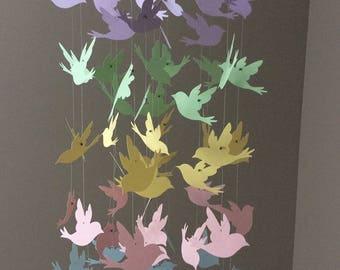Bird Nursery Mobile - Soft Color Mobile - Nursery Room Hanging Decor - Pastel Nursery - Kid's Room - Baby Shower Gift - Birthday Gift