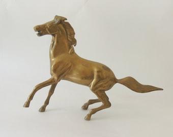Brass Horse Sculpture, vintage horse statue, modern horse art, horse decor