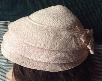 VINTAGE PINK HAT, straw, conical, bows, mid century style, bon marche Seattle, wm silverman N Y