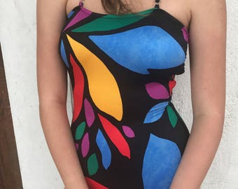 Halter Strap Abstract Shapes Swim Suit