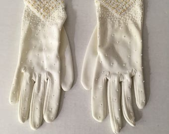 White, Beaded, Gloves, Vintage, Women's, Evening, Formal, Elegant, Hand, Sewn, Bead, Work, Washable, At Wrist, Length, Size, Extra, Small