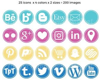 Round Social Media Icons, Aqua Pink Gold Blue Social Buttons, Social Media Graphics for Blogs and Portfolios