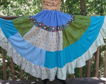Renaissance Summer Prairie Pioneer Long Skirt, Blue Burning Man Fantasy Gypsy Dance Skirt, Floor Length Drawstring Bohemian Hippie Skirt