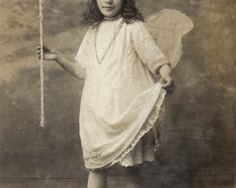 vintage photo Instant Download French Fairy Butterfly Wing Girl w Wand Crown digital download