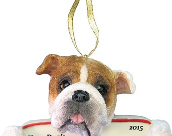 Bulldog Ornament With Personalized Name Plate A Great Gift For  Bulldog Lovers