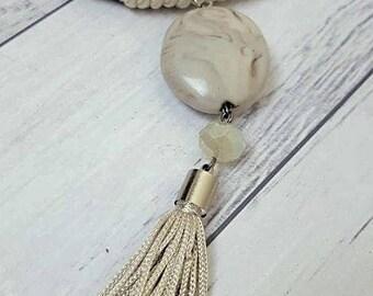 Cream Pendant Tassel Necklace