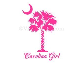 Carolina Girl-Palmetto Tree and Moon-Yeit Decal-Car Window Decal-Carolina Girl Decal