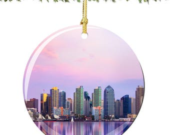 San Diego Christmas Ornament in Porcelain Featuring the San Diego Sklyine