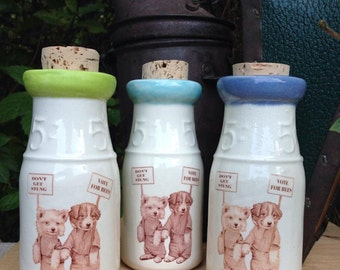 Ceramic Milk Bottle, Vintage Puppy Illustration, Puppy Milk Bottle, Beekeeper Milk Bottle, Ceramic Honey Bottle, Ceramic Cork Jar