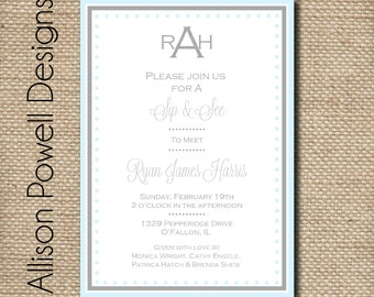 Baby Boy Blue and Grey Monogrammed Personalized/Custom Baby Shower/Sip and See Invitation