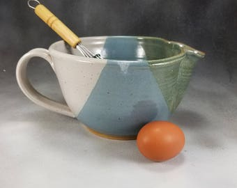 Pottery Batter Bowl Blue Green and White Medium Ceramic Batter Bowl With Whisk Hand Thrown Stoneware Pottery 8