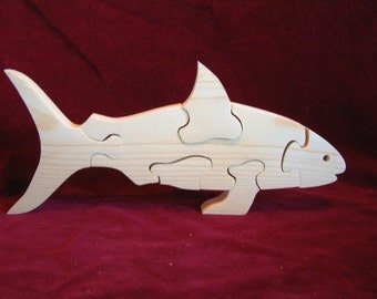 Shark Puzzle of Unfinished Pine