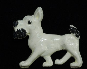 Vintage Plastic 1930s - 1950s Painted Schnauzer Repaired Brooch Pin