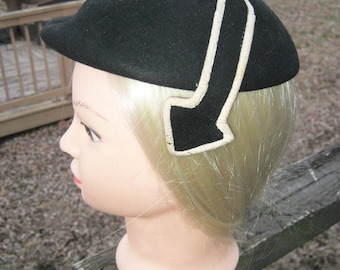 Betmar Black Velvet Hat With Black And White Arrows, One Size Fits All,  Formal Hat,  1950's Hat, Mid Century Hat