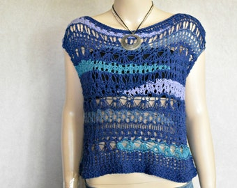 Free form Knitted Top, Blue top, Sleeveless sweater, knitted top, boho top, bohemian top, summer top