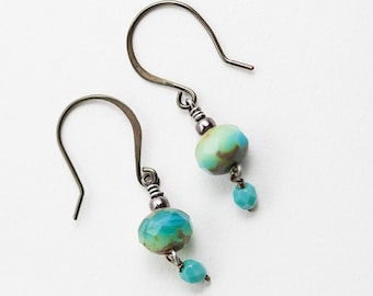 Aqua Earrings, Aqua Glass Earrings, Sea Foam, Beach Jewelry, Beach Earrings, Beach Boho, Boho Earrings, Small Earrings, Petite Earrings