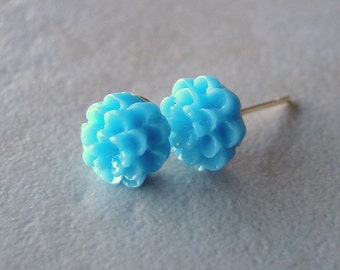 Blue Carved Flower Silver Plated Studs