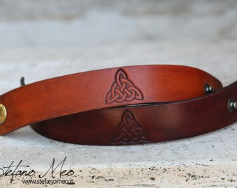 Handmade Leather bracelet with Celtic or Norse theme - Custom