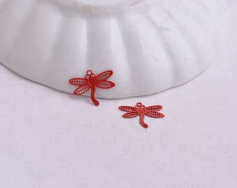 prints red Dragonfly charms red dragonflies, 11 x 14 mm x 4