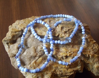 "Blue Sky Cat""s Eye Glass and Swarovski Crystal Stretch Bracelets"