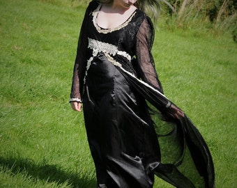 Black medieval dress, Pagan clothing, gothic wedding gown with antique lace embellishments