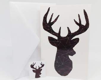 You Are So Deer To Me, Geometric Deer Greeting Cards with Envelopes & Envelope Seals, Greeting Cards, Canadian Greeting Cards, Holiday Cards