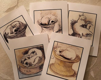 Sleeping Cat Note Cards Greeting Cards Boxed Set of 5 #1