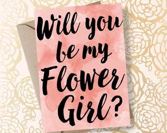 Will You Be My Flower Girl Blush Wedding Flower Girl Gift Asking Flower Girl Flower Girl Proposal Will You Be my Flowergirl - Printable Card