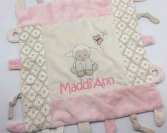 Personalized baby girl gift, Blankie lamb toy, Taggy Blankie, monogrammed shower gift, baby shower gift, taggie blanket, teether, lamb