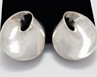 Vintage Zina of Beverly Hills Sterling Silver Modernist Clip-On Earrings