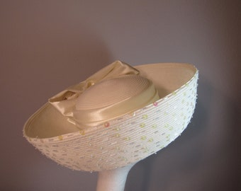 Whittall & Shon vintage ivory hat with sequins