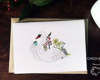 Swan having tea birthday, valentine, anniversary card