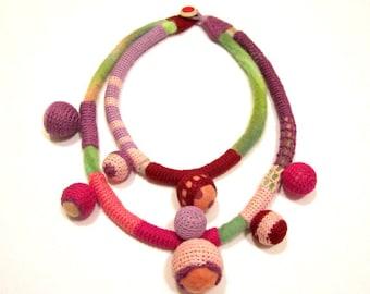 CHEEKY Crocheted Felt Wool Textile Statement  Handmade Necklace