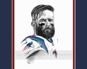 portrait drawing of Julian Edelman (matted print)